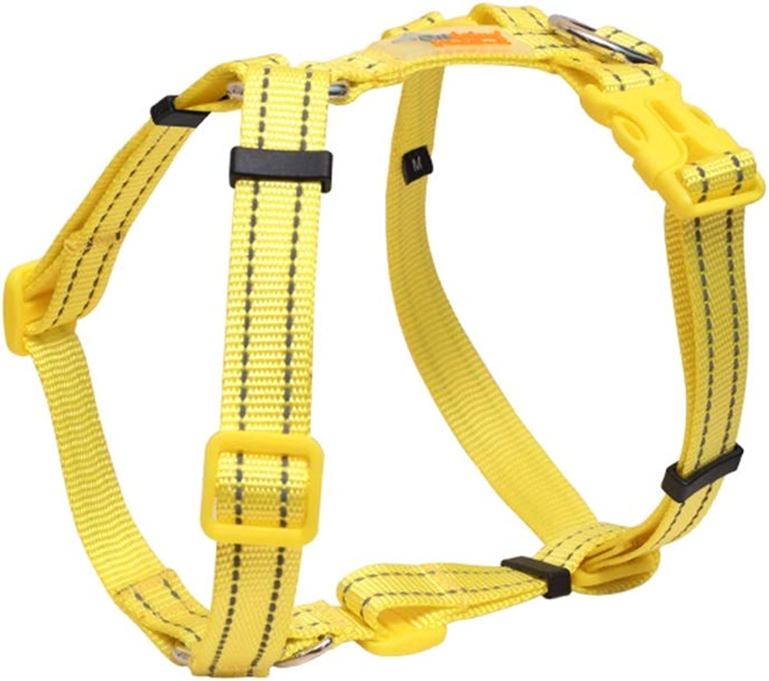 Dog Vest Harness, Chest Strap Traction Leash Outdoor Training Walk Run Adjustable Neck Chest Safety Buffer Chain for Puppy Small Medium Teddy (color   Yellow, Size   L(4260cm))