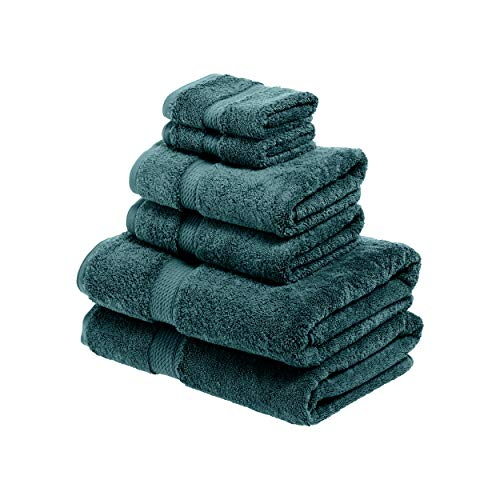 SUPERIOR Egyptian Cotton Solid Towel Set, 6PC, Teal