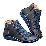 2019 Los Zapatos de Botines Planos para Mujer, Soporte del Arco, Cómodos Botines de Deslizamiento Plano para Mujer, Zapatos Casuales para Mujer Otoño Invierno con Hebilla con Cremallera (38, Azul)