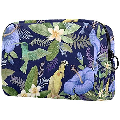 Kosmetiktasche Multifunktionale Makeup Tasche Reise Tragbare Verfassungsbeutel Waschtasche Münzbeutel mit Reißverschluss für Kosmetika Blumen und der Papagei 18.5x7.5x13cm