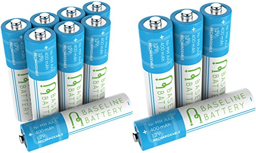12 AAA Ni-MH 400mAh Rechargeable Batteries Baseline Battery 1.2V for Garden Solar Light, Remotes, Small appliances AAA NIMH