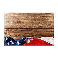 Assanu アメリカ国旗ボード風呂敷物素朴な木製シャワーマット15.7X23.6in玄関マット家の装飾浴室床敷物にヴィンテージアメリカ国旗