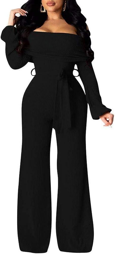 Women Casual Off Shoulder Long Sleeve Tie Waist Wide Leg Pants Jumpsuit Rompers Suits Clubwear Party Night