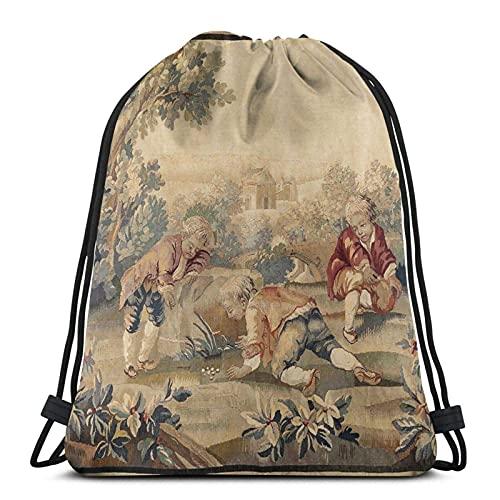 Aubusson - Bolsas con cordón para tapicería, diseño antiguo francés, unisex, con cordón, bolsa de deporte, bolsa grande con cordón, mochila de gimnasio a granel