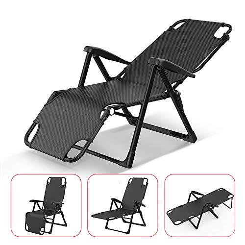 XEWNEG Portable Sun Lounger avec la barre de support, pliant Bureau individuel Chaise Siesta, Cool Summer et respirante extérieur Jardin Recliner (noir, gris) (Color : Black)