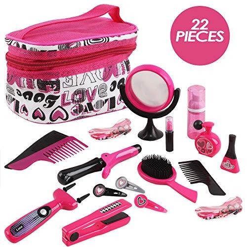 deAO Friseur- und Schminktaschen-Beauty-Set für Mädchen, Styling, Make-up-Accessoires, Spielset, inkl. Flechtmaschine und Haartrockner