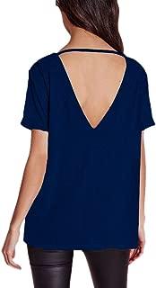Afibi Womens Short Sleeve V-Neck Draped Open-Back Fashion T-Shirt