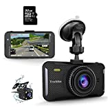 Trochilus Dual Dash Cam 4' 1080P Front and Rear Dash Cams, 170 Degree Wide Angle Car Camera with G-Sensor, WDR, Loop Recording, Parking Monitor, Motion Detection, 32GB SD Card Including
