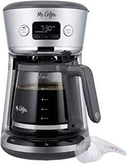 Mr. Coffee 31160393 Easy Measure 12 Cup Programmable Digital Coffee Maker Machine with Built In Water Filtration and Measuring Scoop, Silver