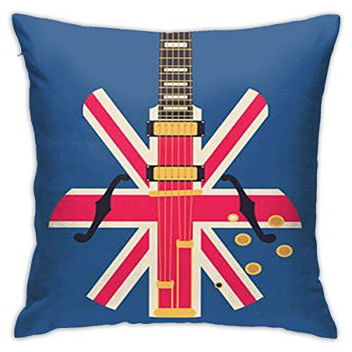 Throw Pillow Case Cushion Cover Grunge British Pop Guitar Rock London Jack Union Brit Flag (18x18 inch/ 45x45cm)