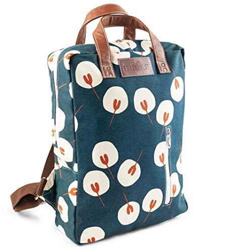 MAIKA Rucksack aus recyceltem Segeltuch mit Reißverschluss. - - 38 cm
