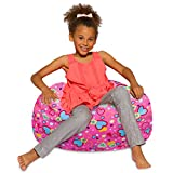 Posh Beanbags Bean Bag Chair, Medium-27in, Canvas Multi-Colored Hearts on Pink