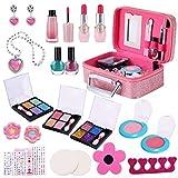 Kids Makeup Kit for Girls, 29pcs Real Kids Cosmetics Makeup Toys Princess Beauty Set with Cosmetic Bag Eyeshadow/Lip Gloss/Blush, Washable Play Makeup for Toddler Girls Christmas Birthday Party