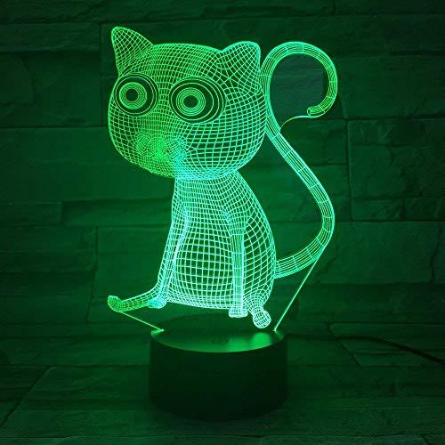 MQJ Lindo gatito 3D LED ilusión lámpara de noche luz óptica mesita de noche luces de noche 16 colores cambiantes botón táctil decoración lámparas de escritorio