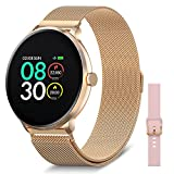 BRIBEJAT Smart Watch with Stainless Steel Band for Women Men with Heart Rate Sleep Monitor Workout Metrics Call Message Alert with Extra Silicone Strap Compatible with iPhone Android Phone Gold