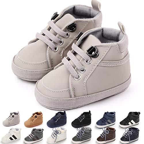 KaKaKaKiKi - Zapatillas de tobillo para bebé y niñas, suela suave, antideslizante, para recién nacido, primer caminante, zapatos para cuna, gris (B01_gris), 6-12 Meses