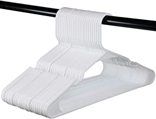 USA Made - White Standard Plastic Hangers, Notched, Set of 24 Durable and Slim, Notched, Made in The USA (White, 24 Pack)