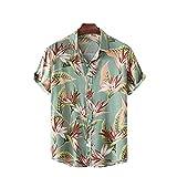LookMark Men's Poly Cotton Digital Printed Stitched Half Sleeve Shirt(Printed Shirt Garden,X-Large) Green