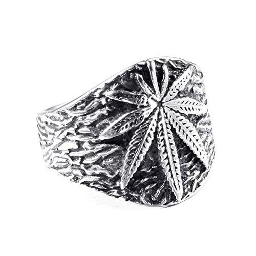 Ring mannen vrouwen Simple Heren Titanium stalen plaat Maple Leaf Creative Ring Gothic Ring Punk Finger Jewelry Gift Punk Biker voor heren (Color : Silver, Size : 11)