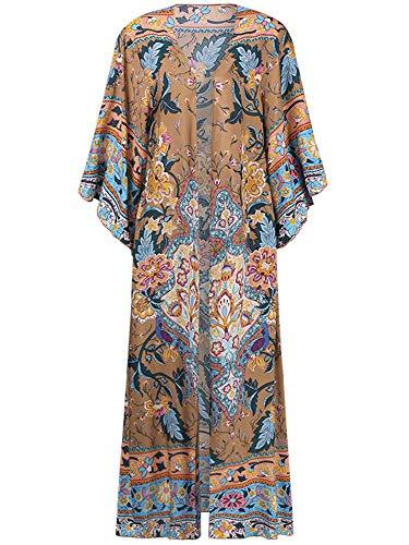 Geagodelia Cardigan Largo Pareos para Mujer Bikini Cubrir de Playa Kimono Cabo Suelto con Estampados de Flor Chal de Verano Protector Solar Traje de Baño Ropa de Playa (Café, M)