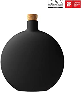 Daroma 125ml Iris Vase Aroma Diffuser, Unique Cork Plug Off Ultrasonic Aromatherapy Essential Oil Nebulizing Scent Air Mist Room Humidifier Home Office Decretive Gift Box, Black