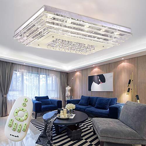 Froadp 108W Kristall Hängelampe Deckenleuchte Aluminum Kronleuchte LED Pendelleuchte Wand- oder Deckenmontage Licht für Hotel Büro Wohnzimmer Schlafzimmer(Dimmbar, mit Fernsteuerung)