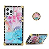 TYOROY Square Case for iPhone 12 Pro Max,Luxury Elegant Women Girls Metal Decoration Corner Classic Retro Soft TPU Case with Kickstand for iPhone 12 Pro Max 6.7 inch (Butterfly Flower Pink)