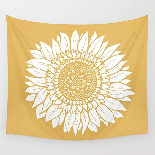 AdoDecor Tapiz de Dibujo de Girasol Amarillo para Colgar en la Pared, Manta de Alfombra para Playa, Tienda de campaña, Tapiz de Viaje para Dormir, 150x200cm