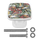 Pomos Y Tiradores Infantiles Dragón Chino Tradicional Tiradores Para Muebles Impresión Pomo Para Muebles Cristal Tirador De Armario Perilla De La Puerta 4 Piezas 3x2.1x2 cm