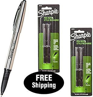 Sharpie Stainless Steel Pen 1800702 with 2 Packs Refills 1800730, Black Ink, Fine Point (1, DESIGN 1)