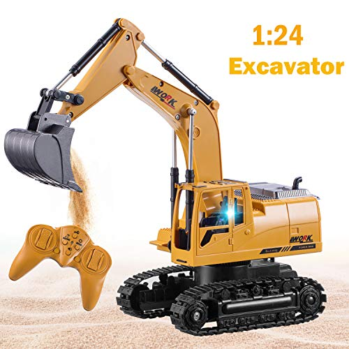 Jogotoll Remote Control Excavator Toy Truck for Boys Girls Full Functional 8 Channel Rechargeable Construction Vehicle Excavator with Flashing Lights, Birthday Gifts for Boys Girls Toddlers
