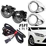 Clear Lens Driving Fog Lights Bumper Lamps Bulbs Harness Bracket Replacement for Ford Focus S SE SEL Titanium 2012-2014 w/ Harness (1 Pair, Left + Right)
