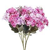 NAHUAA Ramo de Púrpura Hortensia Flores 2 Pcs Flores Artificiales de Seda para el Hogar Jardín Fiesta Boda Plantas Plastico Decorativas de Imitación