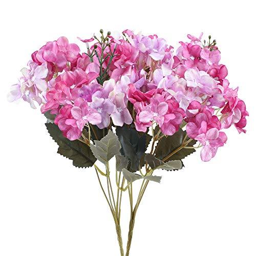 NAHUAA 2Pcs Künstliche Hortensie Blumen Realistische Seide Kunstblumen Hortensien Seidenblumen Blumenstrauß für Hochzeit Hotel Party Haus Tischdeko Vase Blumenschmuck Dekoration