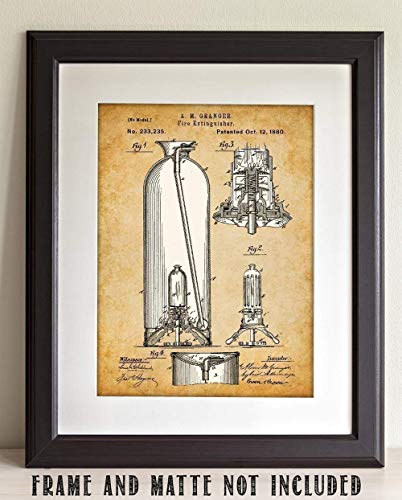 Fire Extinguisher - 11x14 Unframed Patent Print - Makes a Great Gift Under $15 for Firemen/Firefighters