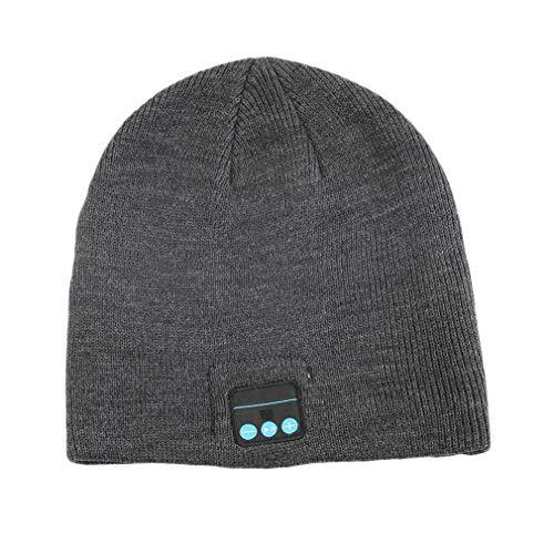 Unisex Smart Wireless Bluetooth Music Winter Warm Knitted Beanie Hat Gorra De Auriculares con Auriculares Manos Libres Gris Oscuro