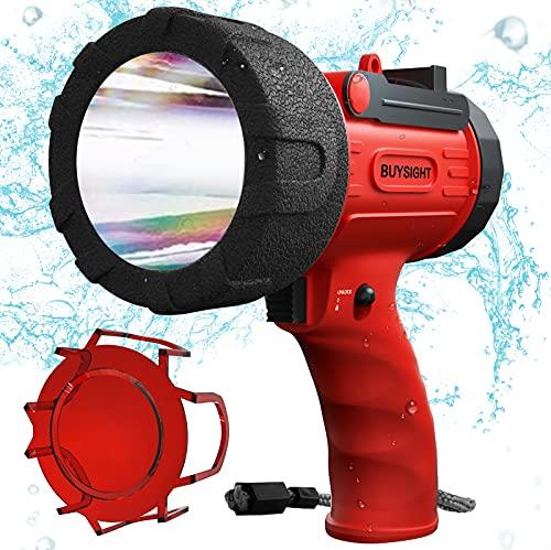 BUYSIGHT Rechargeable Spotlight,Spot Lights Hand held Large Flashlight 6000 lumens Handheld Spotlight Lightweight and Super Bright Flashlight (Red)