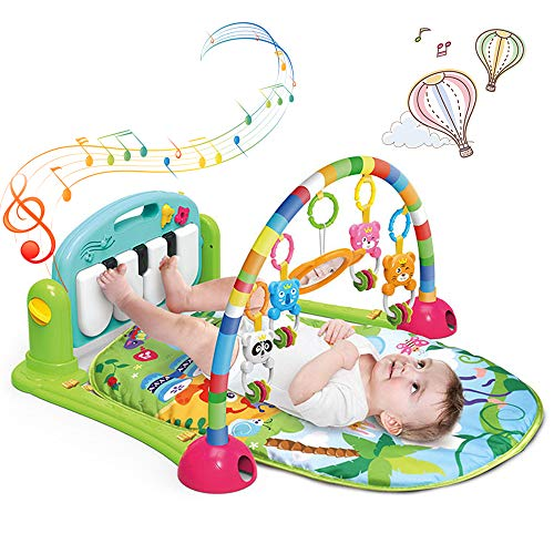 Play Mat Activity Gym for Baby, FEEMOM Baby Game Pad Music Pedal Piano Music Fitness Rack Crawling Mat with Hanging Toys, Lay to Sit-Up Play Mat Activity Center for Infants and Toddlers