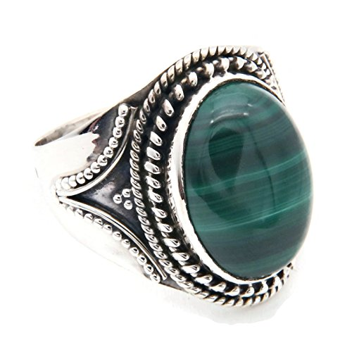 Ring Silber 925 Sterlingsilber Malachit grün Stein (Nr: MRI 131), Ringgröße:52