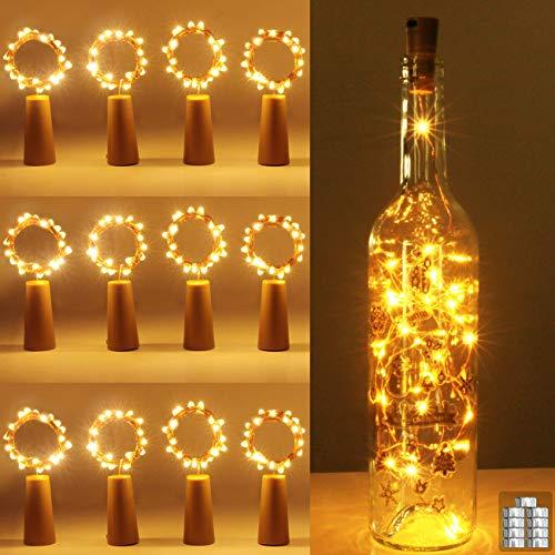 (12 Stück) Flaschenlicht Batterie, kolpop 2m 20 LED Glas Korken Licht Kupferdraht Lichterkette für flasche für Party, Garten, Weihnachten, Halloween, Hochzeit, außen/innen Beleuchtung Deko (Warmweiß)