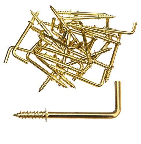 25 St. Metallhaken L-Form Messing Hakenschraube Schraubhaken 32mm lang rechtwinklig mit Holzgewinde Winkelschraube Bilderhaken Schlüsselhaken Einschraubhaken gebogen ohne Dübel ins Holz einschrauben