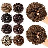 JessLab Postizos de Pelo, 2 Pcs Hair Bun Scrunchie Messy Bun Peluca Pelo Natural Coletas Postizas...
