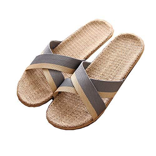 Zapatillas de Estar por Casa de Mujer/Hombre de Lino Zapatillas Interior Sandalias Unisex para Verano Primavera Otoño(Gris,42-43)
