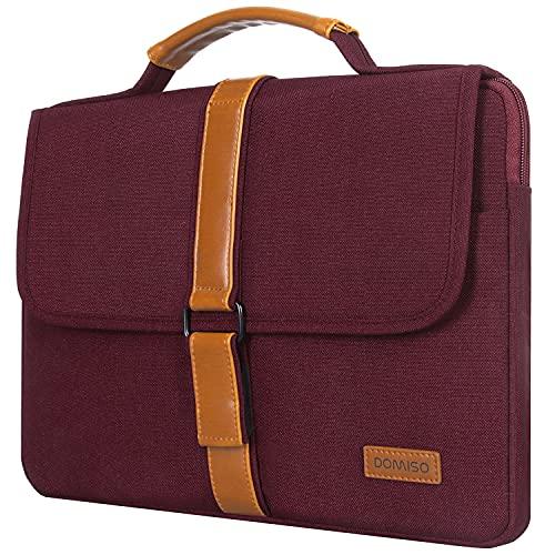 "DOMISO Laptoptasche, Laptophülle 15-15.6 Zoll Notebook Klettband Handtasche für 16\"" MacBook Pro/Lenovo IdeaPad/Dell XPS 15 / HP/Asus/Samsung Sony/Acer Chromebook, Purpurrot"