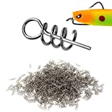Z&S 100pcs 304 Stainless Steel Centering Sping Pin Twistlock for Soft Lure Worm Weighted Hook Fishing Latch Screw Needle 1.5cm