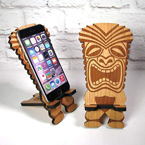 Retro Tiki Carved Wood Cell Phone Stand Mobile Dock