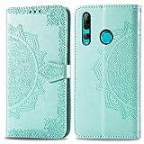 Bear Village Hülle für Huawei P Smart Plus 2019 / Huawei Honor 10I, PU Lederhülle Handyhülle für Huawei P Smart Plus 2019, Brieftasche Kratzfestes Magnet Handytasche mit Kartenfach, Grün