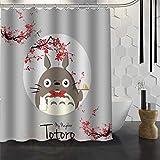 YUJEJ801 Mein Nachbar Totoro Duschvorhang 180x180 Anti-Schimmel & Wasserabweisend Shower Curtain mit 12 Duschvorhangringen 3D Digital Druck Farben Bad Vorhang für Badzimmer Dekorieren