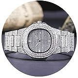 Men Iced Out Watch Costume Luxury Bling Double Daul Rhinestone Bezel Silver Tone Watch
