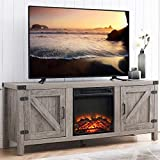GOOD & GRACIOUS Farmhouse Wood TV Stand and Electric Fireplace, Fit up to 65' Flat Screen TV with Storage Cabinet and Adjustable Shelves Entertainment Center for Living Room, Grey Wash